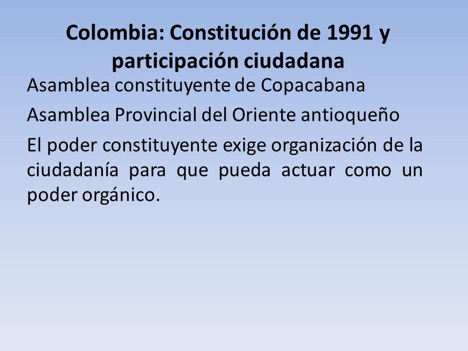 Colombia: Constitución de 1991 y participación ciudadana Asamblea constituyente de Copacabana Asamblea Provincial del Oriente antioqueño El poder cons