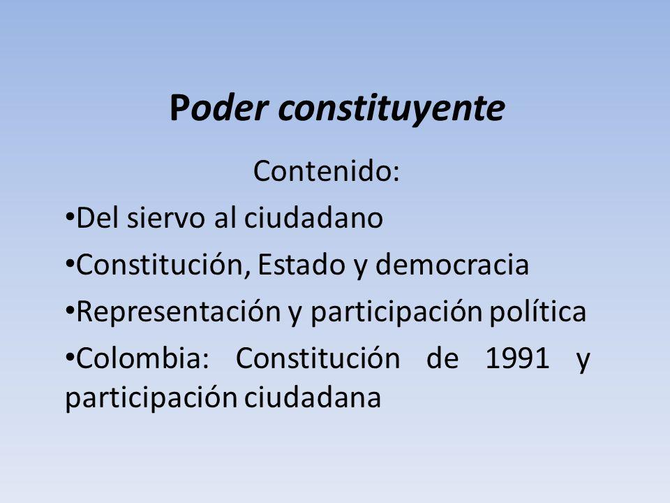 Poder constituyente Contenido: Del siervo al ciudadano Constitución, Estado y democracia Representación y participación política Colombia: Constitució