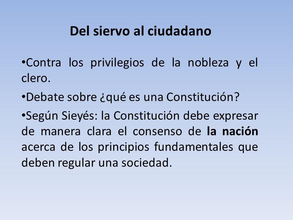 Del siervo al ciudadano Contra los privilegios de la nobleza y el clero. Debate sobre ¿qué es una Constitución? Según Sieyés: la Constitución debe exp