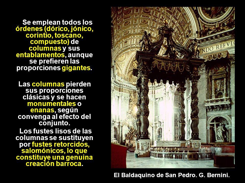 Se emplean todos los órdenes (dórico, jónico, corintio, toscano, compuesto) de columnas y sus entablamentos, aunque se prefieren las proporciones giga