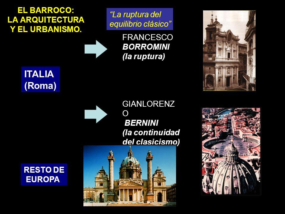 EL BARROCO: LA ARQUITECTURA Y EL URBANISMO. ITALIA (Roma) FRANCESCO BORROMINI (la ruptura) GIANLORENZ O BERNINI (la continuidad del clasicismo) RESTO