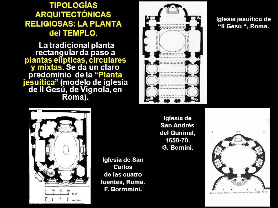 TIPOLOGÍAS ARQUITECTÓNICAS RELIGIOSAS: LA PLANTA del TEMPLO. La tradicional planta rectangular da paso a plantas elípticas, circulares y mixtas. Se da
