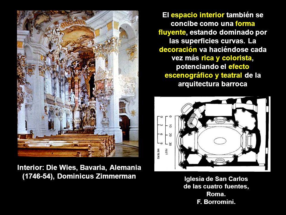 El espacio interior también se concibe como una forma fluyente, estando dominado por las superficies curvas. La decoración va haciéndose cada vez más