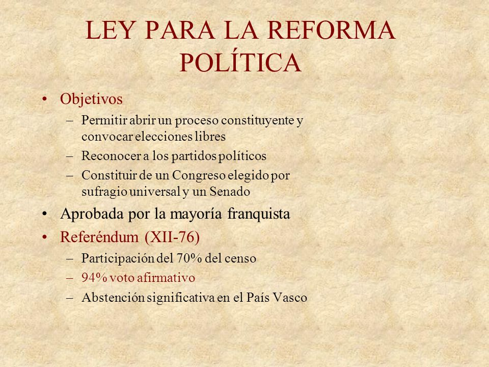 AMNISTIA Decreto de amnistía (4-VIII-76) –Primer paso: Liberar a los encarcelados por asociación ilícita o manifestación política Ley de Amnistía (oct