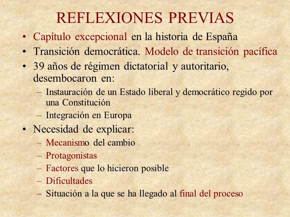 REFLEXIONES PREVIAS Capítulo excepcional en la historia de España Transición democrática.