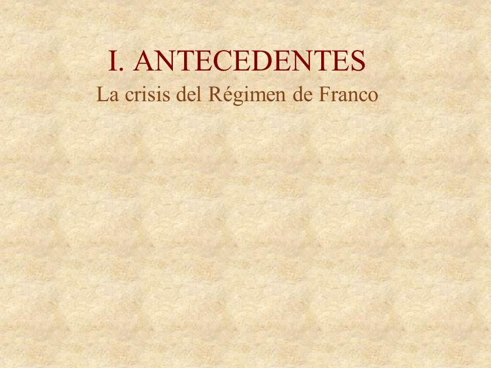 I. ANTECEDENTES La crisis del Régimen de Franco