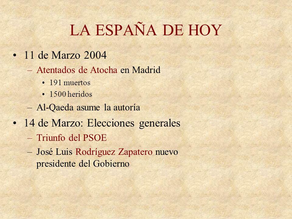 EL TRIUNFO DEL PP Elecciones generales 1996 –Triunfo del Partido Popular Jóse Mª Aznar nuevo presidente del gobierno Años de bonanza económica –Se red