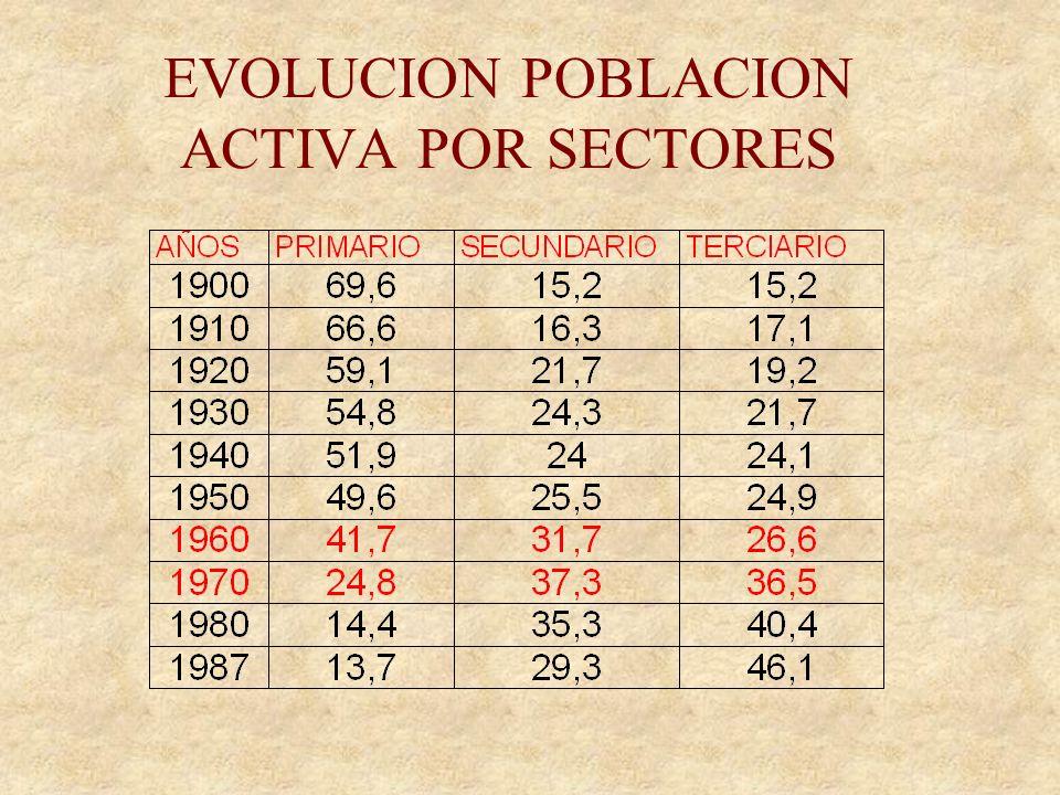 EVOLUCION POBLACION ACTIVA POR SECTORES