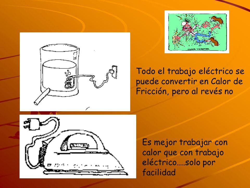 Todo el trabajo eléctrico se puede convertir en Calor de Fricción, pero al revés no Es mejor trabajar con calor que con trabajo eléctrico....solo por