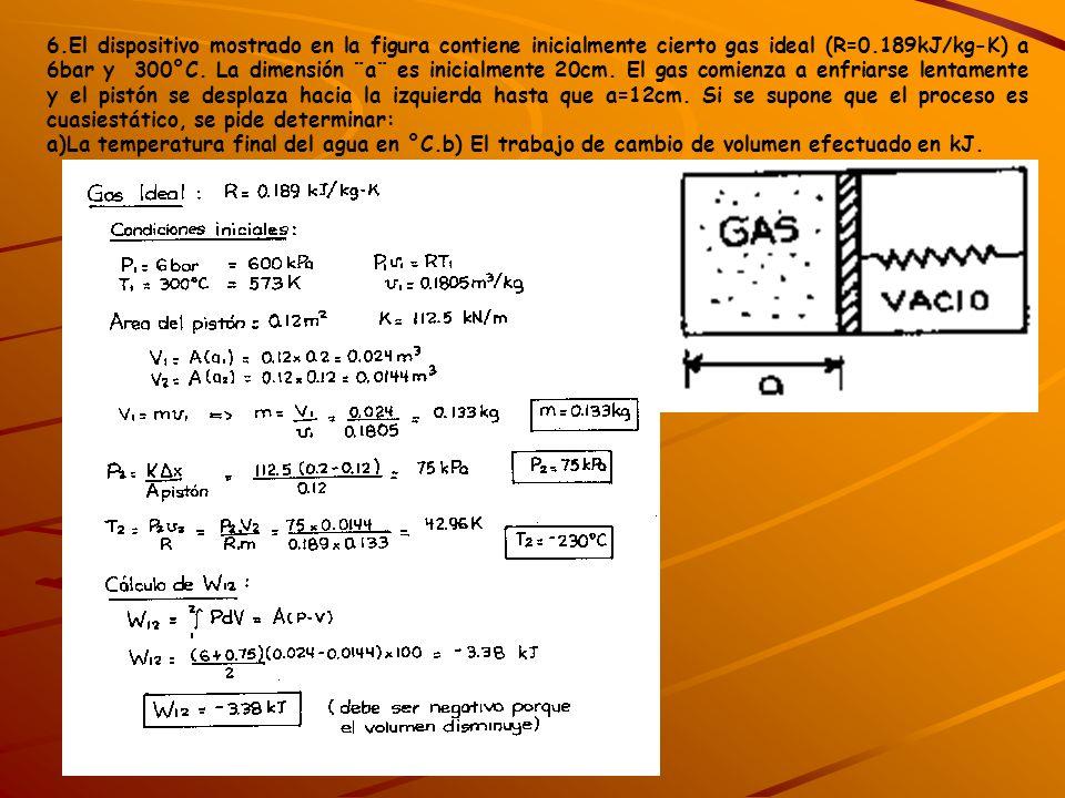 6.El dispositivo mostrado en la figura contiene inicialmente cierto gas ideal (R=0.189kJ/kg-K) a 6bar y 300°C. La dimensión ¨a¨ es inicialmente 20cm.