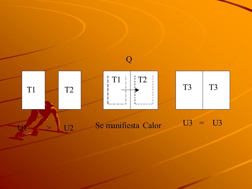 T1 T2 T3 U1 > U2 Se manifiesta Calor Q U3 = U3