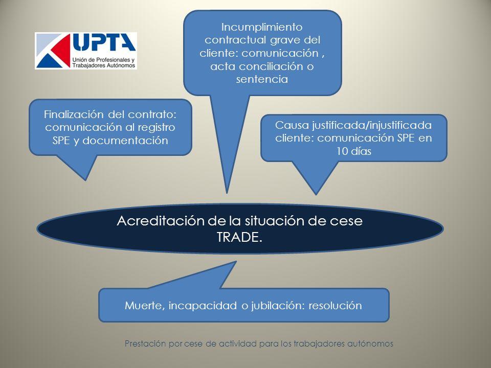 Prestación por cese de actividad para los trabajadores autónomos Acreditación de la situación de cese TRADE.