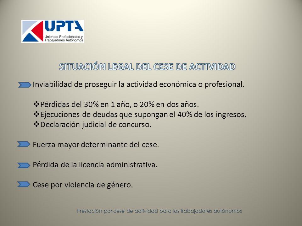 Inviabilidad de proseguir la actividad económica o profesional.