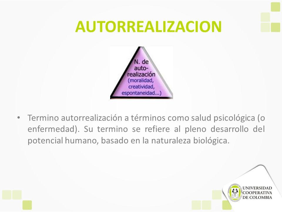 AUTORREALIZACION Termino autorrealización a términos como salud psicológica (o enfermedad). Su termino se refiere al pleno desarrollo del potencial hu