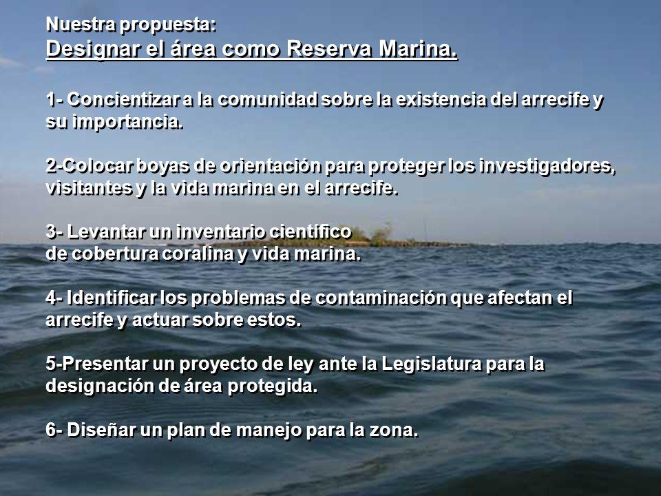 Nuestra propuesta: Designar el área como Reserva Marina. 1- Concientizar a la comunidad sobre la existencia del arrecife y su importancia. 2-Colocar b