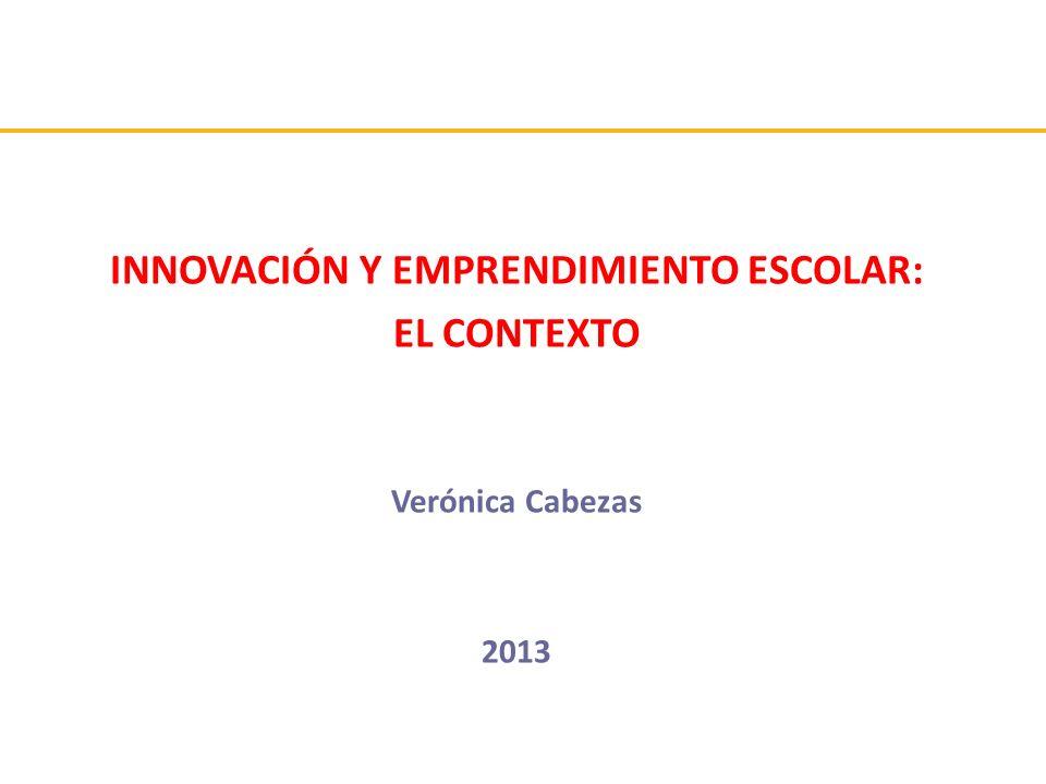 INNOVACIÓN Y EMPRENDIMIENTO ESCOLAR: EL CONTEXTO Verónica Cabezas 2013
