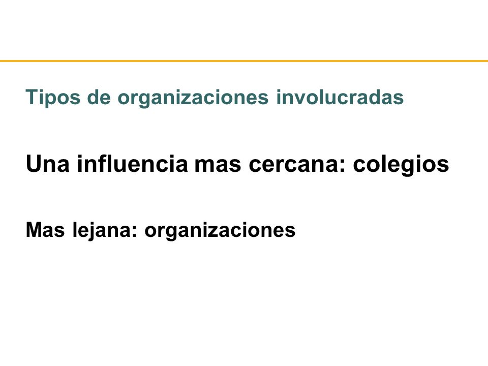 Tipos de organizaciones involucradas Una influencia mas cercana: colegios Mas lejana: organizaciones