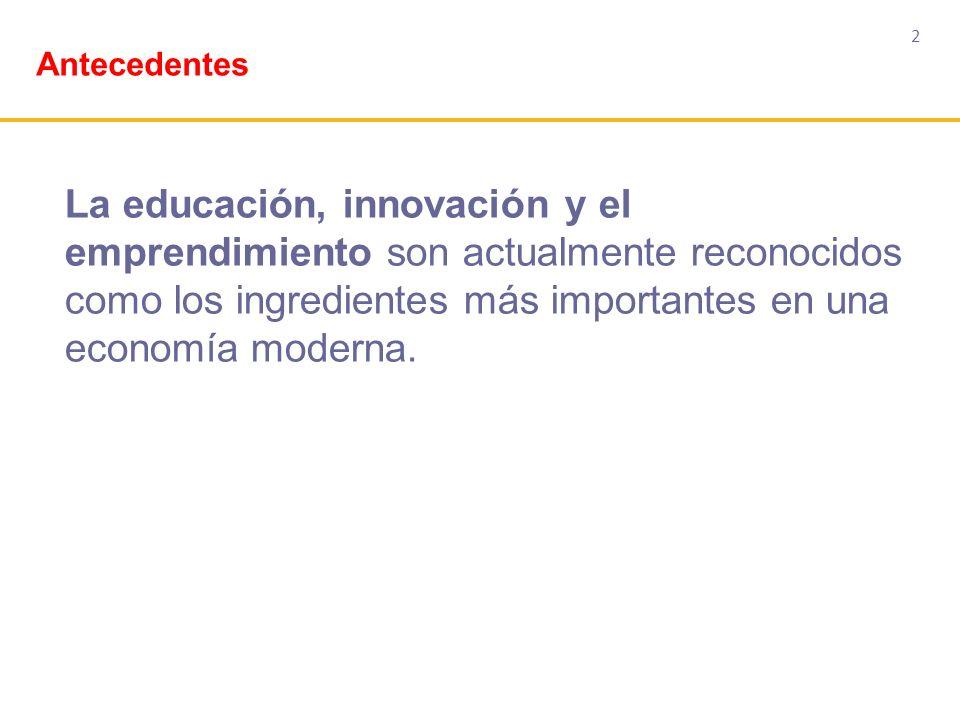 2 La educación, innovación y el emprendimiento son actualmente reconocidos como los ingredientes más importantes en una economía moderna. Antecedentes