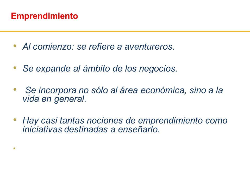 Emprendimiento Al comienzo: se refiere a aventureros. Se expande al ámbito de los negocios. Se incorpora no sólo al área económica, sino a la vida en
