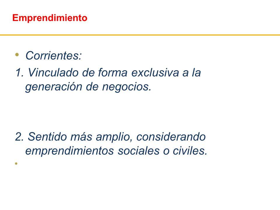 Emprendimiento Corrientes: 1. Vinculado de forma exclusiva a la generación de negocios. 2. Sentido más amplio, considerando emprendimientos sociales o