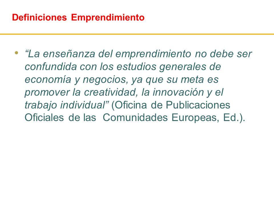 Definiciones Emprendimiento La enseñanza del emprendimiento no debe ser confundida con los estudios generales de economía y negocios, ya que su meta e