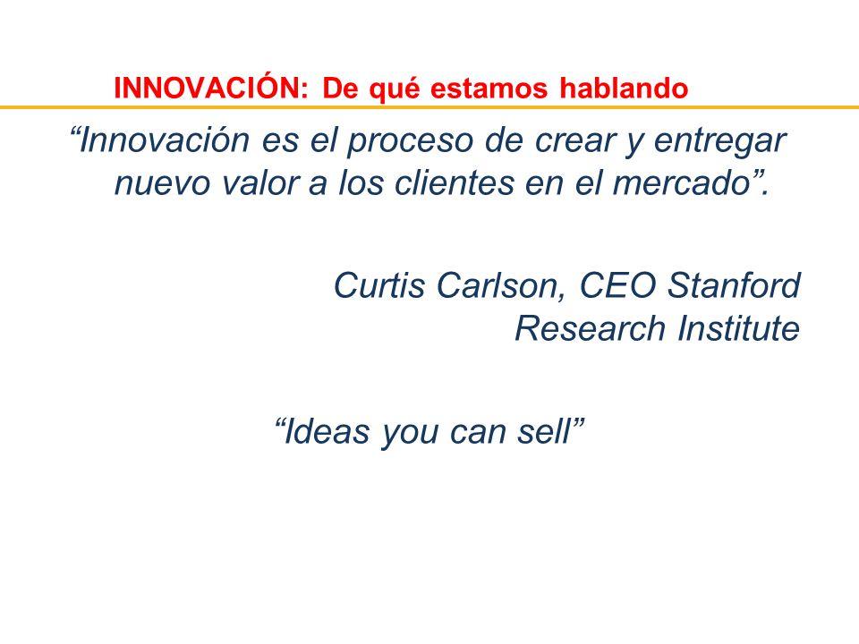 INNOVACIÓN: De qué estamos hablando Innovación es el proceso de crear y entregar nuevo valor a los clientes en el mercado. Curtis Carlson, CEO Stanfor