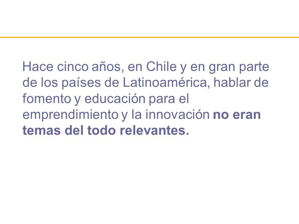 Hace cinco años, en Chile y en gran parte de los países de Latinoamérica, hablar de fomento y educación para el emprendimiento y la innovación no eran
