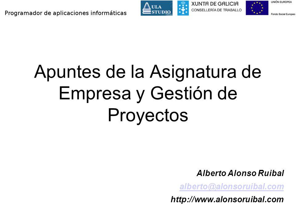 Apuntes de la Asignatura de Empresa y Gestión de Proyectos Alberto Alonso Ruibal alberto@alonsoruibal.com http://www.alonsoruibal.com