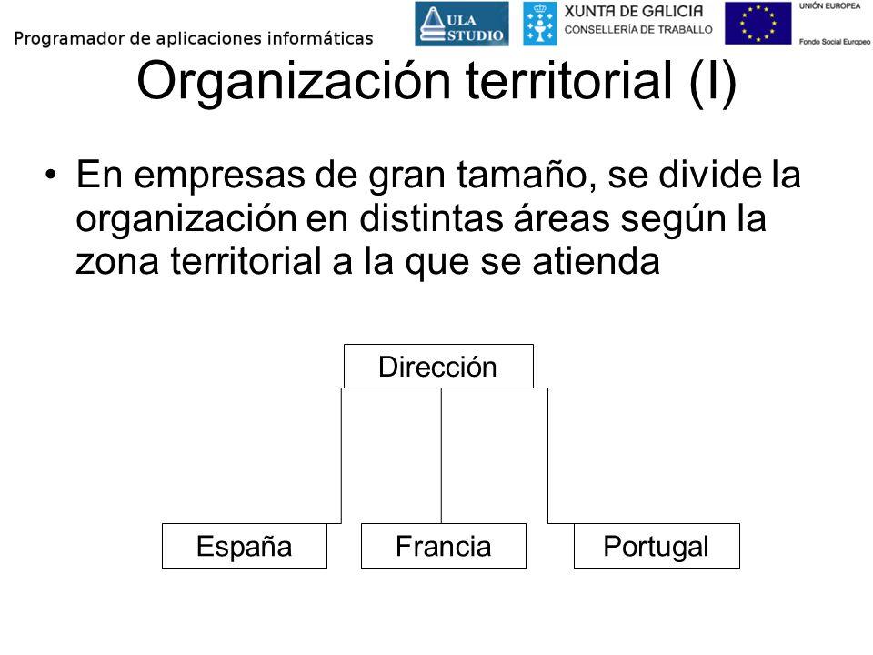 Organización territorial (I) En empresas de gran tamaño, se divide la organización en distintas áreas según la zona territorial a la que se atienda Di