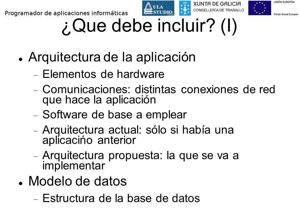 ¿Que debe incluir? (I) Arquitectura de la aplicación Elementos de hardware Comunicaciones: distintas conexiones de red que hace la aplicación Software