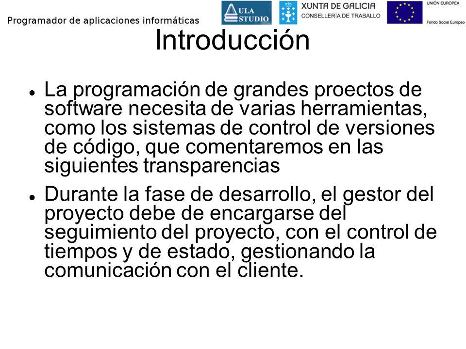Introducción La programación de grandes proectos de software necesita de varias herramientas, como los sistemas de control de versiones de código, que