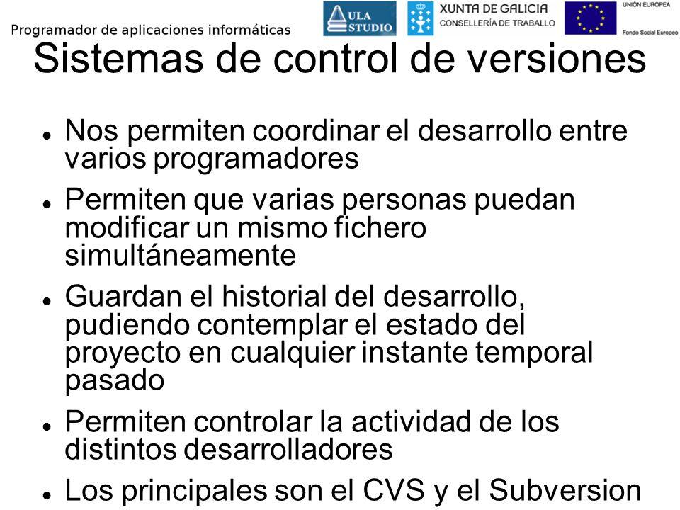 Sistemas de control de versiones Nos permiten coordinar el desarrollo entre varios programadores Permiten que varias personas puedan modificar un mism