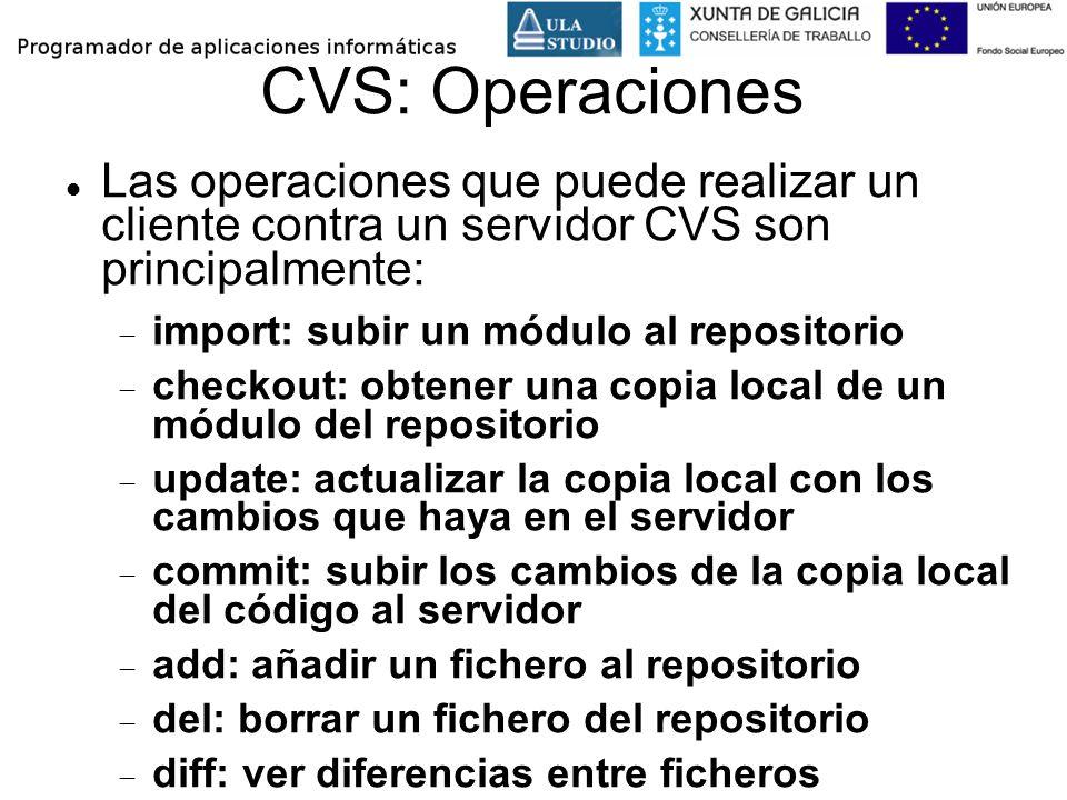 CVS: Operaciones Las operaciones que puede realizar un cliente contra un servidor CVS son principalmente: import: subir un módulo al repositorio check