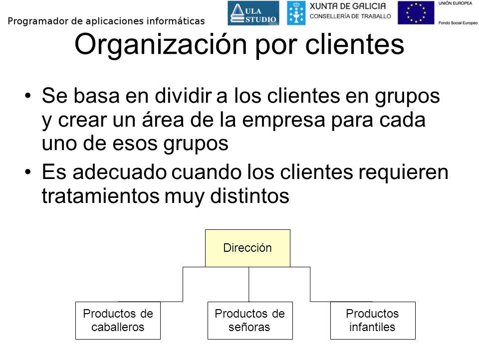 Organización por clientes Se basa en dividir a los clientes en grupos y crear un área de la empresa para cada uno de esos grupos Es adecuado cuando lo