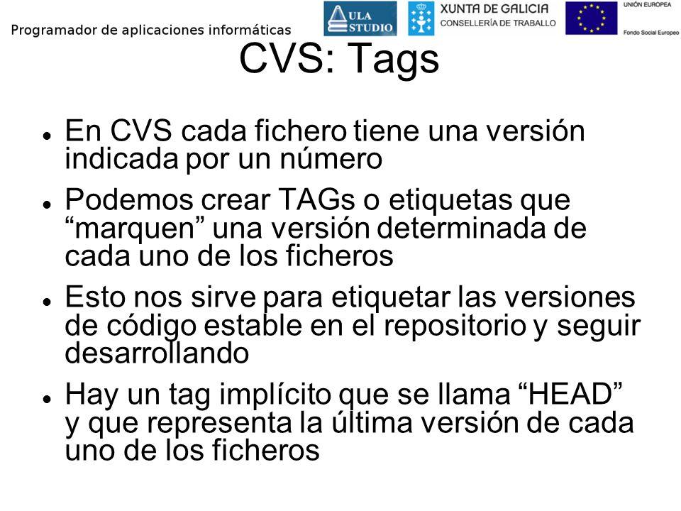 CVS: Tags En CVS cada fichero tiene una versión indicada por un número Podemos crear TAGs o etiquetas que marquen una versión determinada de cada uno