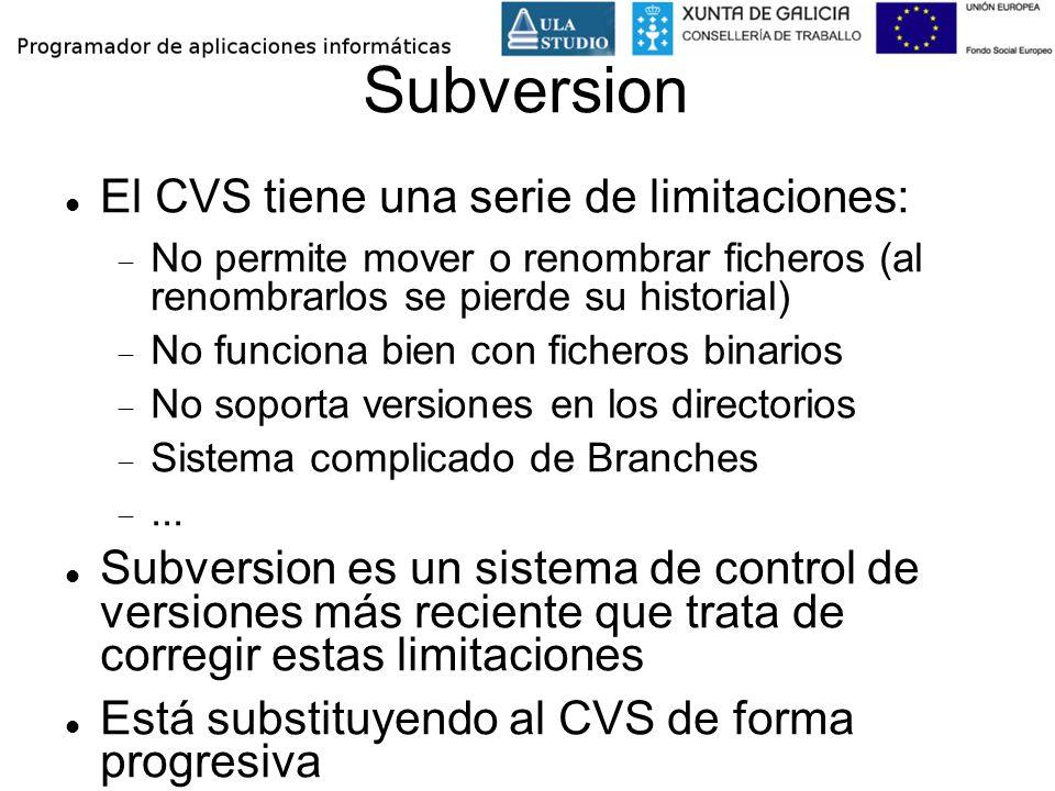 Subversion El CVS tiene una serie de limitaciones: No permite mover o renombrar ficheros (al renombrarlos se pierde su historial) No funciona bien con