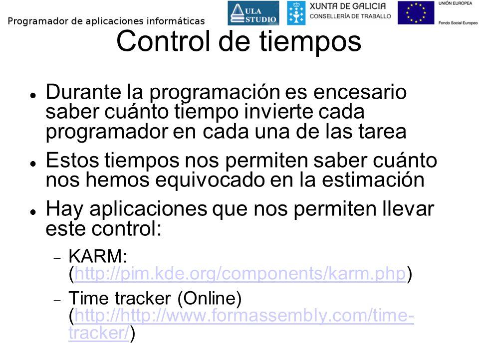 Control de tiempos Durante la programación es encesario saber cuánto tiempo invierte cada programador en cada una de las tarea Estos tiempos nos permi