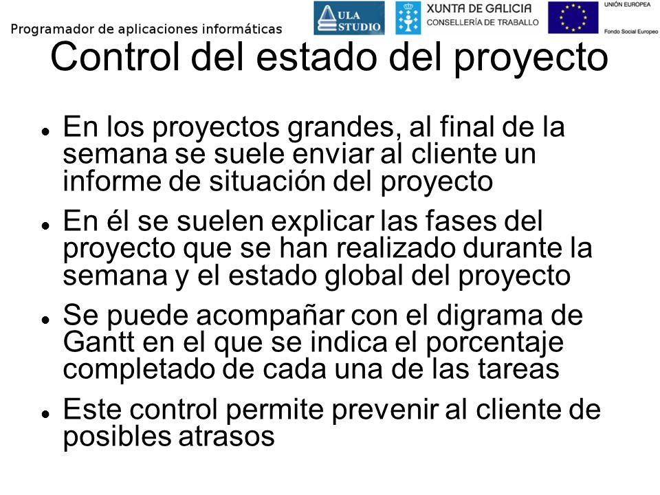 Control del estado del proyecto En los proyectos grandes, al final de la semana se suele enviar al cliente un informe de situación del proyecto En él