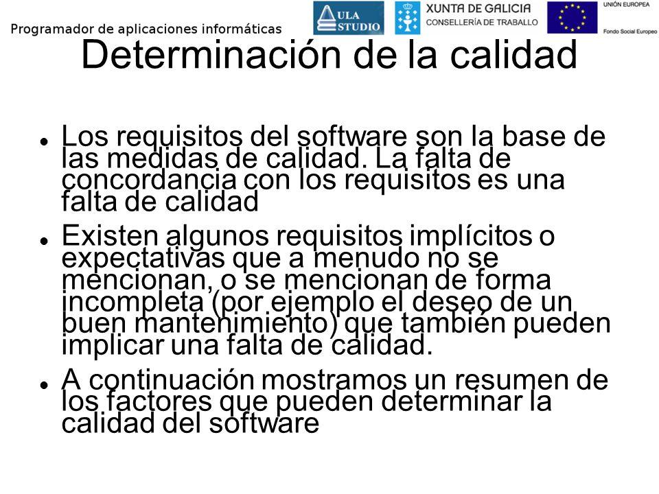 Determinación de la calidad Los requisitos del software son la base de las medidas de calidad. La falta de concordancia con los requisitos es una falt