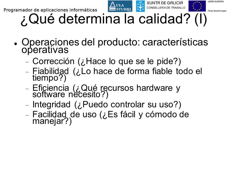 ¿Qué determina la calidad? (I) Operaciones del producto: características operativas Corrección (¿Hace lo que se le pide?) Fiabilidad (¿Lo hace de form