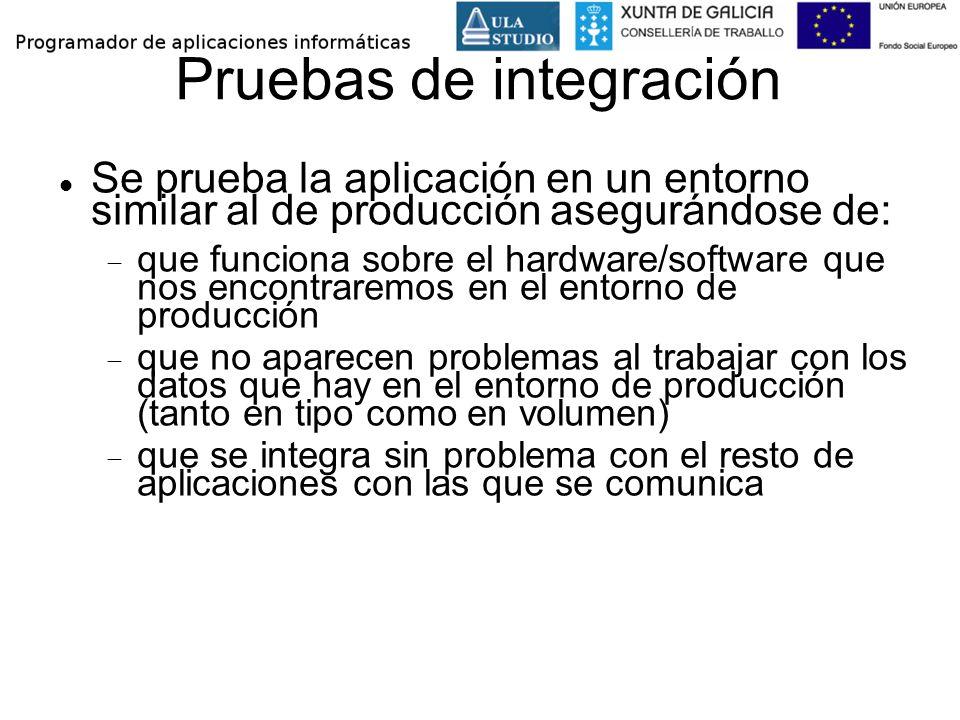 Pruebas de integración Se prueba la aplicación en un entorno similar al de producción asegurándose de: que funciona sobre el hardware/software que nos