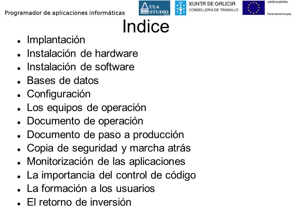 Indice Implantación Instalación de hardware Instalación de software Bases de datos Configuración Los equipos de operación Documento de operación Docum