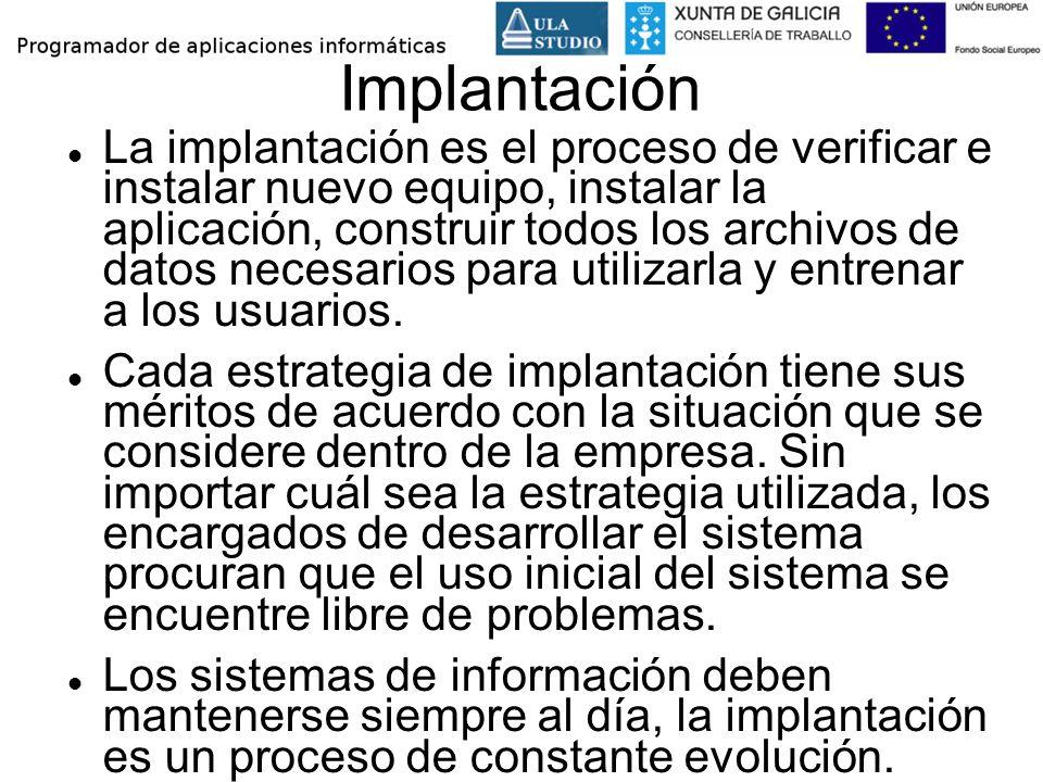 Implantación La implantación es el proceso de verificar e instalar nuevo equipo, instalar la aplicación, construir todos los archivos de datos necesar