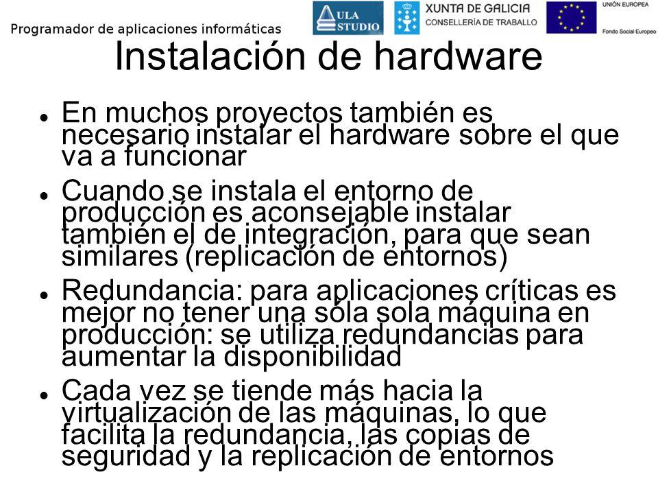Instalación de hardware En muchos proyectos también es necesario instalar el hardware sobre el que va a funcionar Cuando se instala el entorno de prod