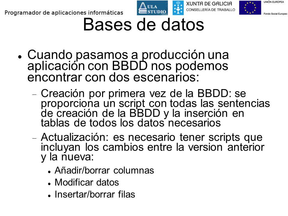 Bases de datos Cuando pasamos a producción una aplicación con BBDD nos podemos encontrar con dos escenarios: Creación por primera vez de la BBDD: se p