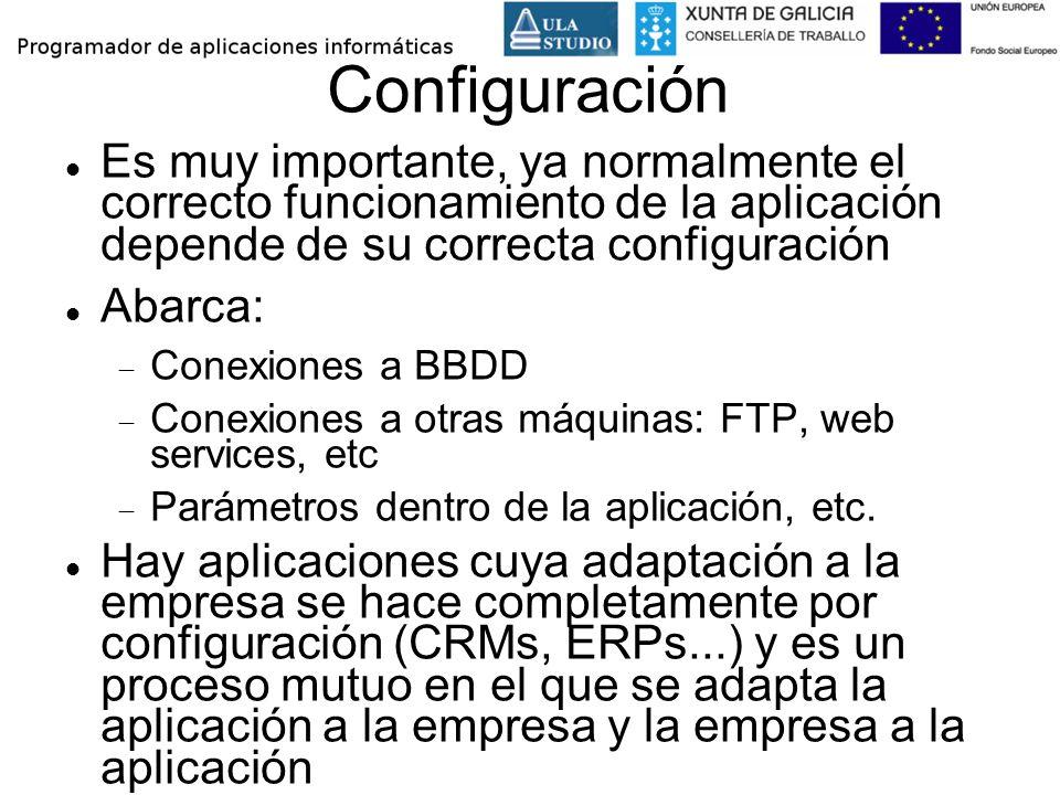 Configuración Es muy importante, ya normalmente el correcto funcionamiento de la aplicación depende de su correcta configuración Abarca: Conexiones a