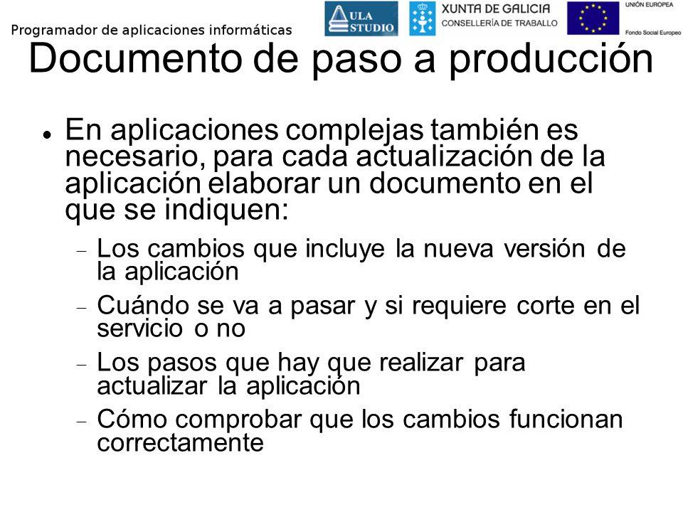 Documento de paso a producción En aplicaciones complejas también es necesario, para cada actualización de la aplicación elaborar un documento en el qu