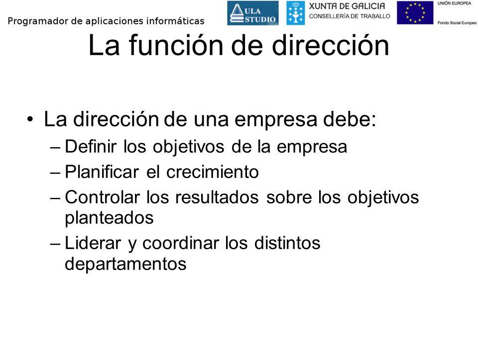 La función de dirección La dirección de una empresa debe: –Definir los objetivos de la empresa –Planificar el crecimiento –Controlar los resultados so