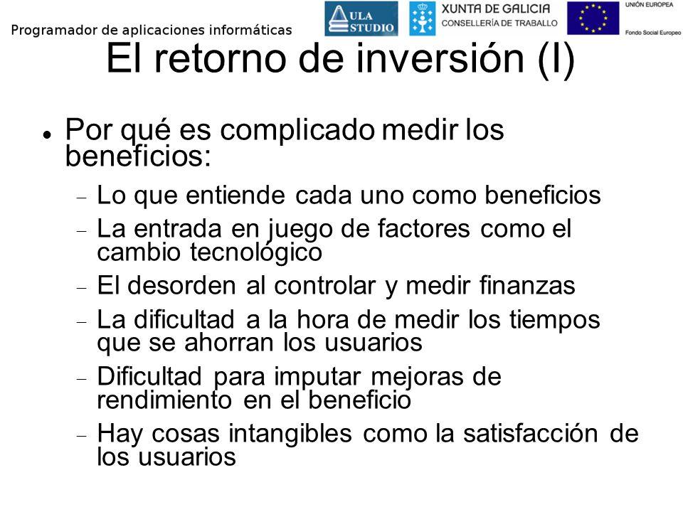 El retorno de inversión (I) Por qué es complicado medir los beneficios: Lo que entiende cada uno como beneficios La entrada en juego de factores como