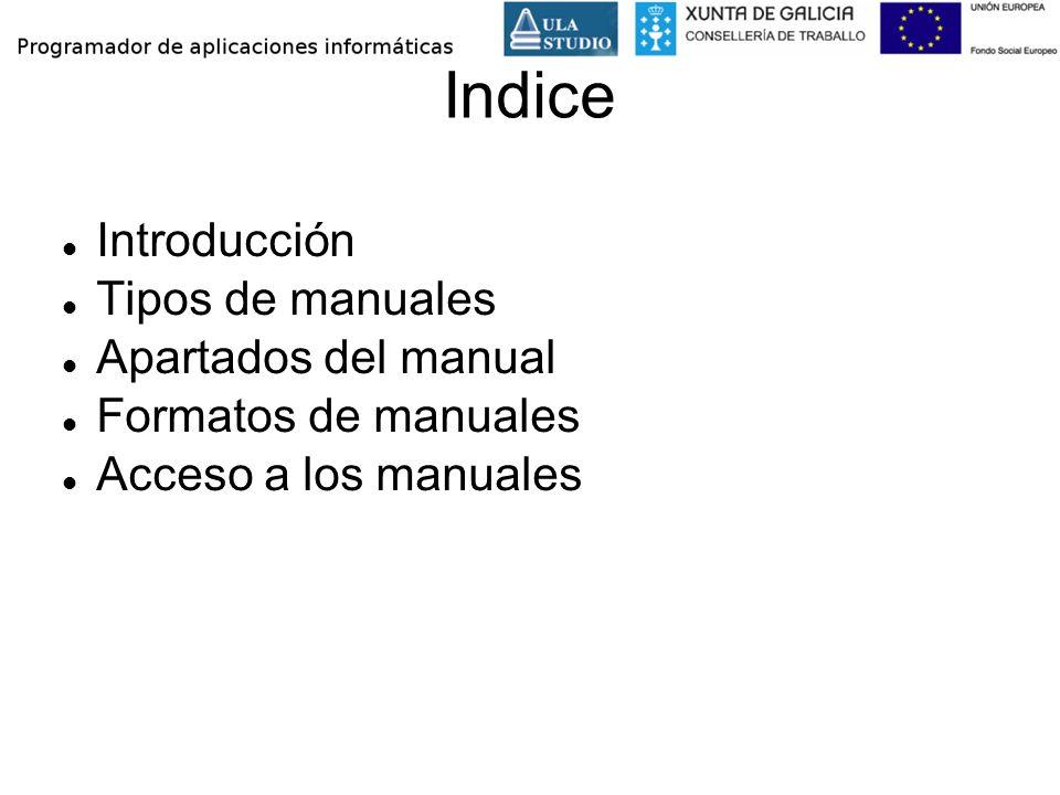 Indice Introducción Tipos de manuales Apartados del manual Formatos de manuales Acceso a los manuales